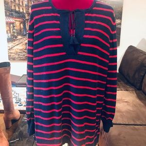 LOFT- Navy and Red Striped Tunic Sweater